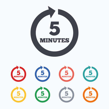 Every 5 minutes sign icon. Full rotation arrow symbol. Colored flat icons on white background.