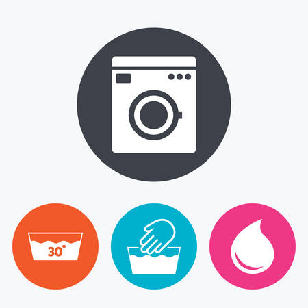 washhouse: Hand wash icon. Machine washable at 30 degrees symbols. Laundry washhouse and water drop signs. Circle flat buttons with icon. Illustration