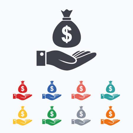 Dólar y el icono del signo de la mano. Palma de la mano sostiene símbolo bolsa de dinero. iconos planos de colores sobre fondo blanco.