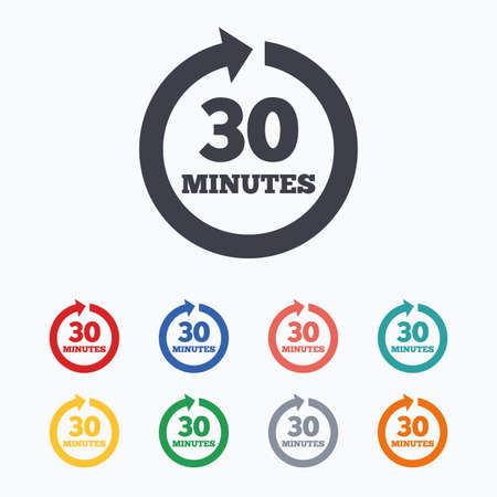 renewal: Every 30 minutes sign icon. Full rotation arrow symbol. Colored flat icons on white background. Illustration