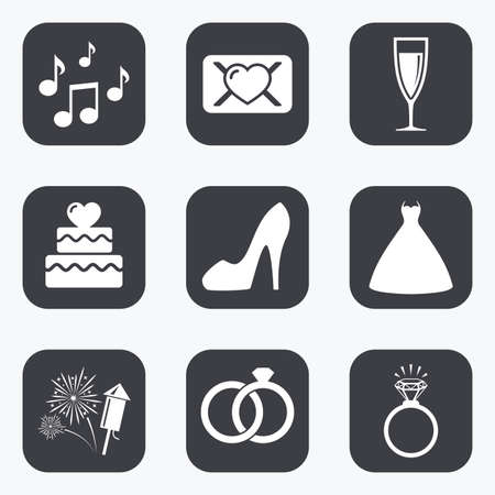 vow: Wedding, engagement icons. Cake with heart, gift box and vow love letter signs. Dress, fireworks and musical notes symbols. Flat square buttons with rounded corners. Illustration