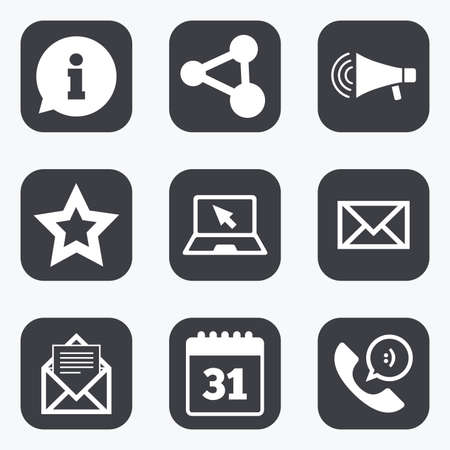 Communication icons. Contact, mail signs. E-mail, information speech bubble and calendar symbols. Flat square buttons with rounded corners. Illustration