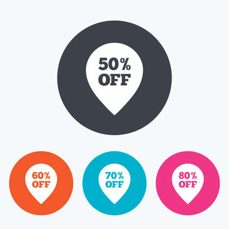 60 70: Sale pointer tag icons. Discount special offer symbols. 50%, 60%, 70% and 80% percent off signs. Circle flat buttons with icon. Illustration