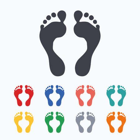 Human footprint sign icon. Barefoot symbol. Foot silhouette. Colored flat icons on white background.