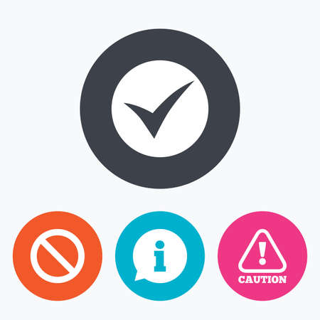 Information icons. Stop prohibition and attention caution signs. Approved check mark symbol. Circle flat buttons with icon.
