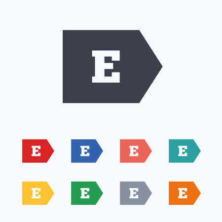 consumption: Energy efficiency class E sign icon. Energy consumption symbol. Colored flat icons on white background. Illustration