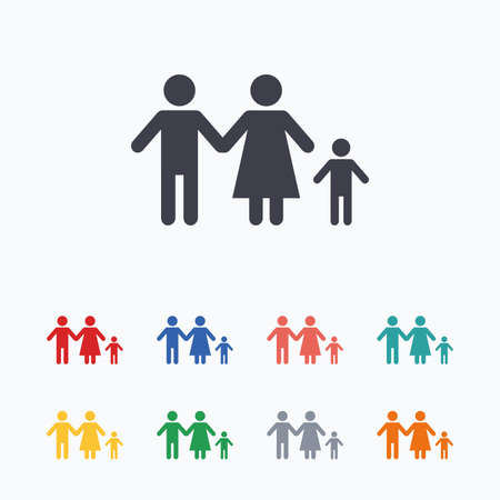 family with one child: Family with one child sign icon. Complete family symbol. Colored flat icons on white background. Illustration