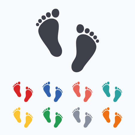 barefoot walking: Child pair of footprint sign icon. Toddler barefoot symbol. Babys first steps. Colored flat icons on white background.