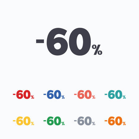 60: 60 percent discount sign icon. Sale symbol. Special offer label. Colored flat icons on white background. Illustration