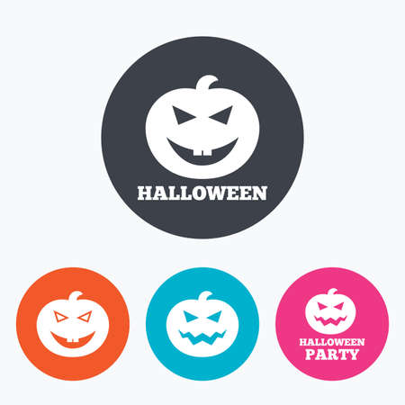 hallows: Halloween pumpkin icons. Halloween party sign symbol. All Hallows Day celebration. Circle flat buttons with icon.