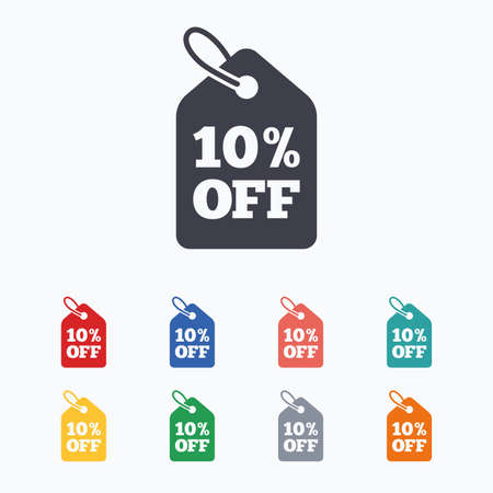 ten best: 10% sale price tag sign icon. Discount symbol. Special offer label. Colored flat icons on white background.