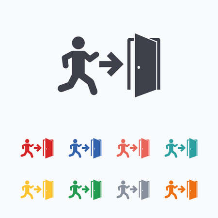 exit emergency sign: Emergency exit with human figure sign icon. Door with right arrow symbol. Fire exit. Colored flat icons on white background. Illustration