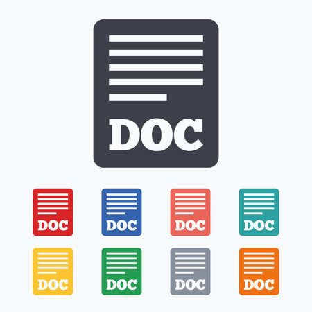 doc: File document icon. Download doc button. Doc file symbol. Colored flat icons on white background.