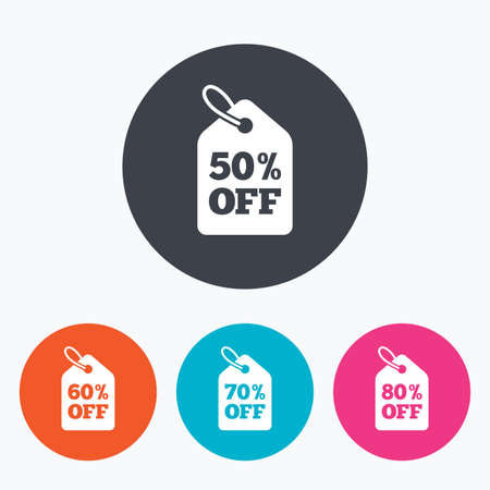 50 to 60: Sale price tag icons. Discount special offer symbols. 50%, 60%, 70% and 80% percent off signs. Circle flat buttons with icon. Illustration