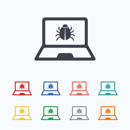ultrabook: Laptop virus sign icon. Notebook software bug symbol. Colored flat icons on white background.
