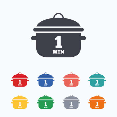 boil: Boil 1 minute. Cooking pan sign icon. Stew food symbol. Colored flat icons on white background. Illustration