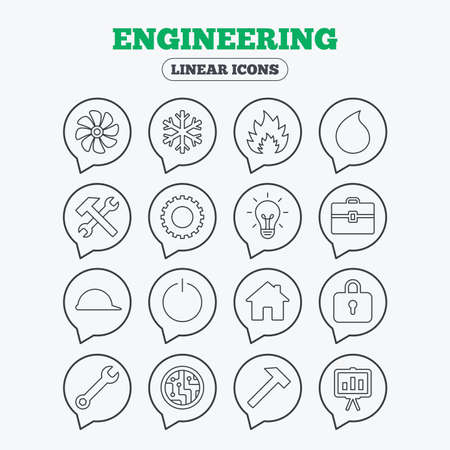 Engineering icons. Ventilation, heat and air conditioning symbols. Water supply, repair service and circuit board thin outline signs. Lamp, house and locker. Linear icons in speech bubbles. Illustration