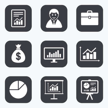 symbol people: Statistics, accounting icons. Charts, presentation and pie chart signs. Analysis, report and business case symbols. Flat square buttons with rounded corners.