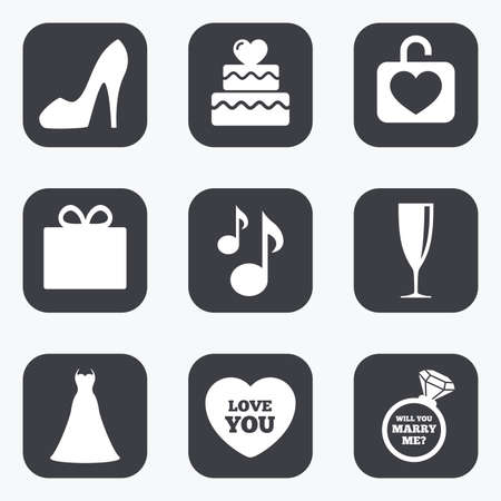 brilliant heart: Wedding, engagement icons. Cake with heart, gift box and brilliant signs. Dress, shoes and musical notes symbols. Flat square buttons with rounded corners.