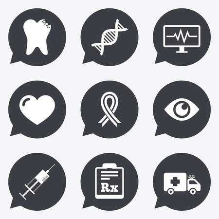 awareness ribbon: Medicine, healthcare and diagnosis icons. Tooth, syringe and ambulance signs. Dna, awareness ribbon symbols. Flat icons in speech bubble pointers. Illustration
