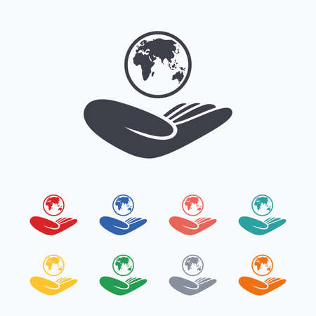 hand colored: World insurance sign. Hand holds planet symbol. Travel insurance. World peace. Colored flat icons on white background. Illustration