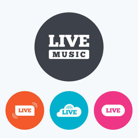 live stream sign: Live music icons. Karaoke or On air stream symbols. Cloud sign. Circle flat buttons with icon.