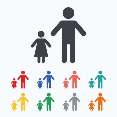 family with one child: One-parent family with one child sign icon. Father with daughter symbol. Colored flat icons on white background.