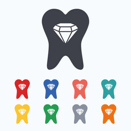 prestige: Tooth crystal icon. Tooth jewellery sign. Dental prestige symbol. Colored flat icons on white background.