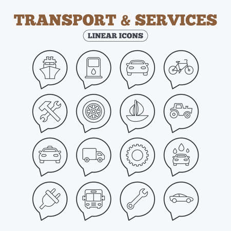 public services: Transport and services icons. Ship, car and public bus, taxi. Repair hammer and wrench key, wheel and cogwheel. Sailboat and bicycle. Linear icons in speech bubbles.
