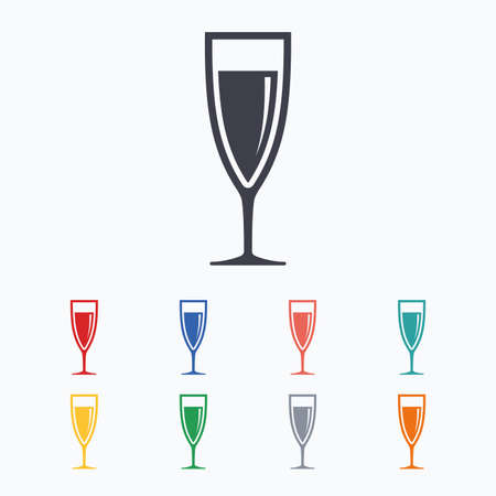 champagne celebration: Glass of champagne sign icon. Sparkling wine. Celebration or banquet alcohol drink symbol. Colored flat icons on white background.