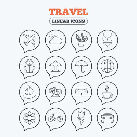 bra and panties: Travel icons. Ship, plane and car transport. Beach umbrella, palms and cocktail. Swimming trunks. Rose or tulip flower. Linear icons in speech bubbles. Illustration