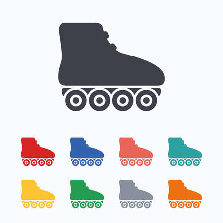 rollerblades: Roller skates sign icon. Rollerblades symbol. Colored flat icons on white background.