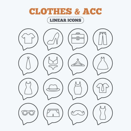 shorts t shirt sexy: Clothes and accessories icons. Shirt with tie, pants and woman dress symbols. Hat, hanger and glasses thin outline signs. Underwear and maternity clothes. Linear icons in speech bubbles.