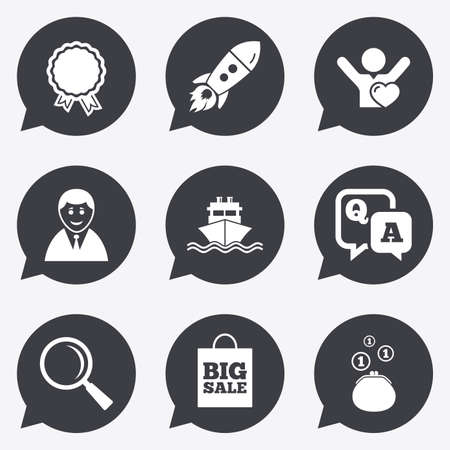 e cash: Online shopping, e-commerce and business icons. Startup, award and customers like signs. Cash money, shipment and sale symbols. Flat icons in speech bubble pointers.