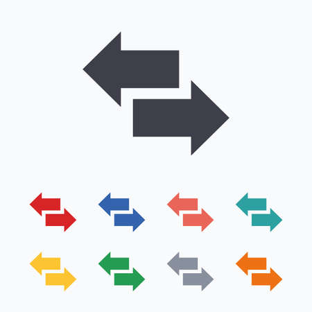outgoing: Incoming and outgoing calls sign. Upload. Download arrow symbol. Colored flat icons on white background.