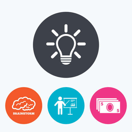 standing lamp: Presentation billboard, brainstorm icons. Cash money and lamp idea signs. Man standing with pointer. Scheme and Diagram symbol. Circle flat buttons with icon.