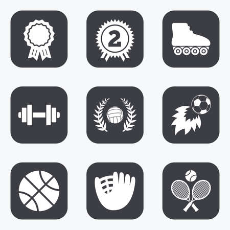 rollers: Sport games, fitness icons. Football, basketball and volleyball signs. Dumbbell, baseball and winner award symbols. Flat square buttons with rounded corners.