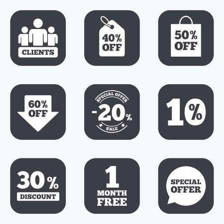 30 to 40: Sale discounts icon. Shopping, clients and speech bubble signs. 20, 30, 40 and 50 percent off. Special offer symbols. Flat square buttons with rounded corners. Illustration