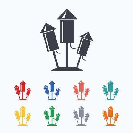 pyrotechnic: Fireworks rockets sign icon. Explosive pyrotechnic device symbol. Colored flat icons on white background.