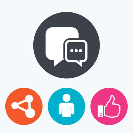 link up: Social media icons. Chat speech bubble and Share link symbols. Like thumb up finger sign. Human person profile. Circle flat buttons with icon. Illustration