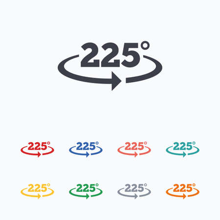twenty two: Angle 225 degrees sign icon. Geometry math symbol. Colored flat icons on white background.
