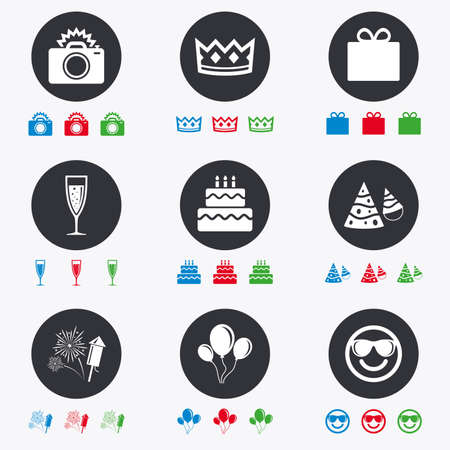 red hat: Party celebration, birthday icons. Fireworks, air balloon and champagne glass signs. Gift box, cake and photo camera symbols. Flat circle buttons with icons. Illustration