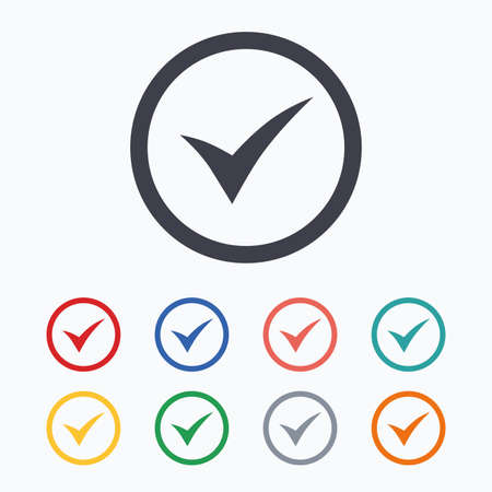 Check mark sign icon. Yes circle symbol. Confirm approved. Colored flat icons on white background.