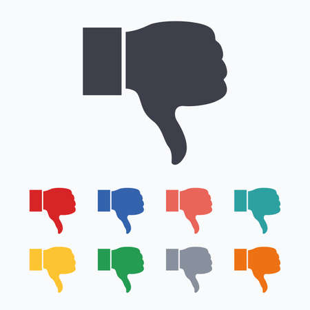 hand colored: Dislike sign icon. Thumb down sign. Hand finger down symbol. Colored flat icons on white background.