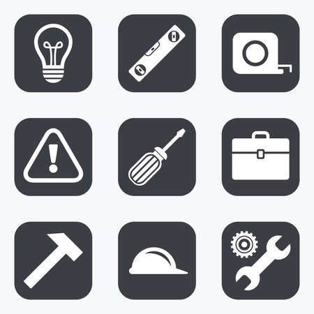 spirit level: Repair, construction icons. Engineering, helmet and screwdriver signs. Lamp, electricity and attention symbols. Flat square buttons with rounded corners.