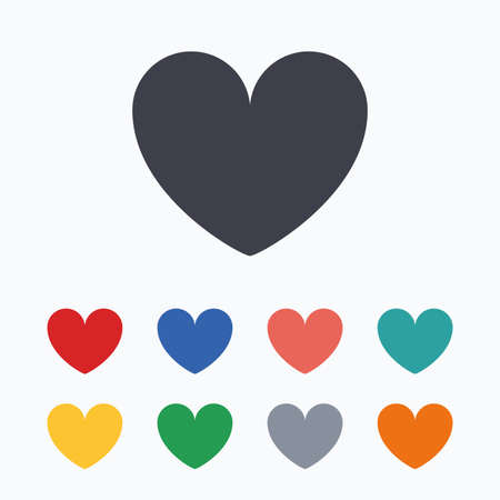 date stamp: Heart sign icon. Love symbol. Colored flat icons on white background. Illustration