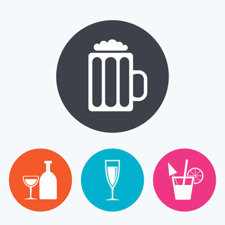 champagne orange: Alcoholic drinks icons. Champagne sparkling wine and beer symbols. Wine glass and cocktail signs. Circle flat buttons with icon.