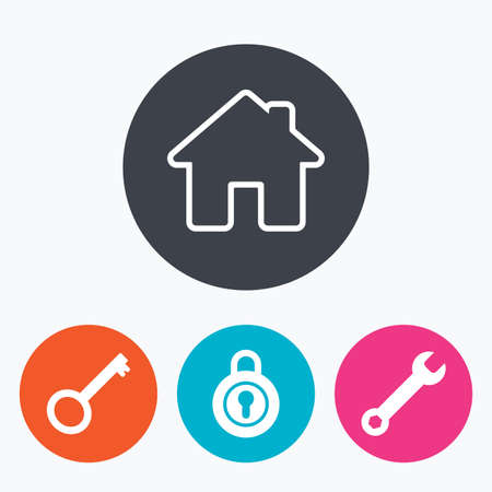 main: Home key icon. Wrench service tool symbol. Locker sign. Main page web navigation. Circle flat buttons with icon.