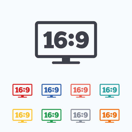 widescreen: Aspect ratio 16:9 widescreen tv sign icon. Monitor symbol. Colored flat icons on white background.