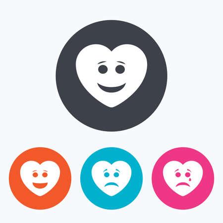 caras graciosas: Corazón sonrisa iconos de la cara. Feliz, triste, llorar signos. símbolo de chat sonriente feliz. La tristeza y la depresión signos de llanto. Un círculo botones planos con el icono.